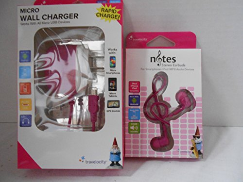 Click to buy Travelocity Micro Wall Charger and Notes Earbuds (Pink) - From only $19.95