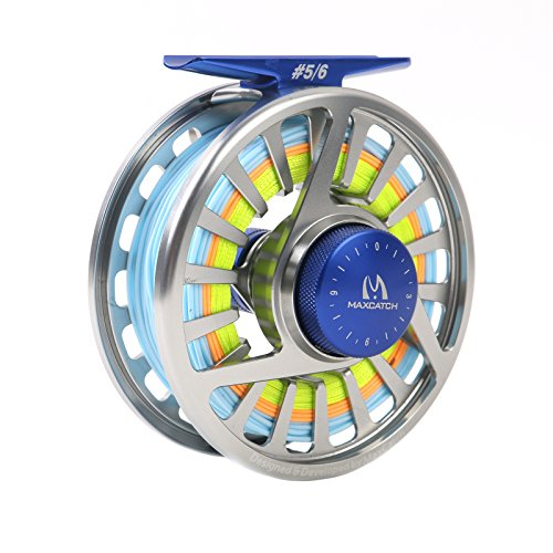 M MAXIMUMCATCH Maxcatch Avid Spooled Fly Fishing Reel with WF Fly Line, Backing, Tapered Leader Silver Black, 5 6wt 7 8wt