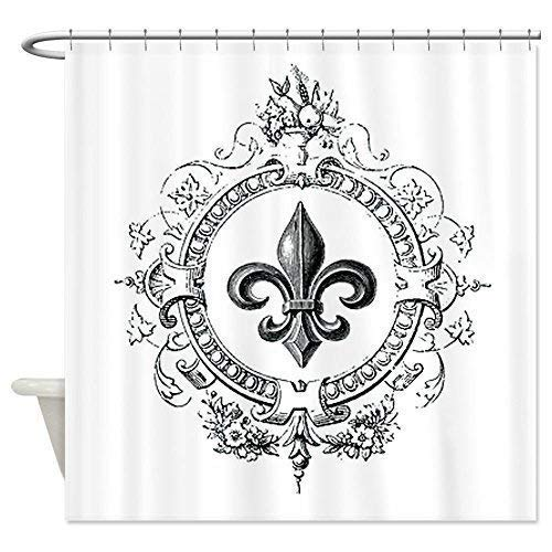 Cloud Dream Vintage French Fleur de lis Shower Curtain,Waterproof Polyester Fabric Bath Curtain Design,36x72-Inch Small Stall Size,Standard White