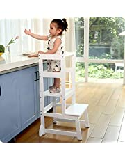 Adjustable Height Kitchen Helper Step Stool for Kids and Toddlers Children Standing Learning Tower for Kitchen Counter, Mothers' Helper (White)