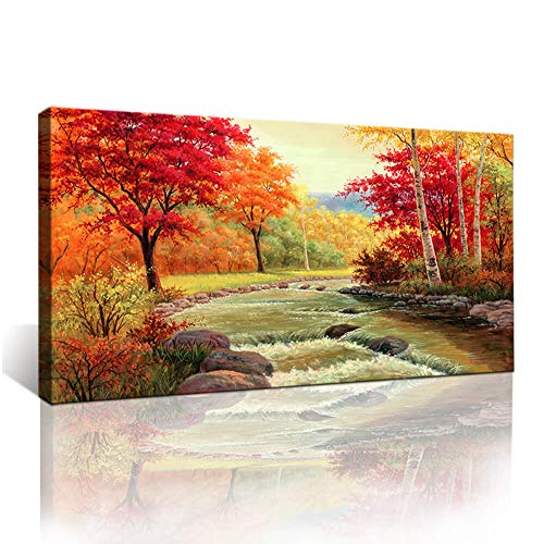 Moyedecor Art - Autumn Red Trees Forest Mountain Waterfall Canvas Print Paintings For Wall And Home Décor Office Gifts Art Ready to - Autumn Wall Tree Art