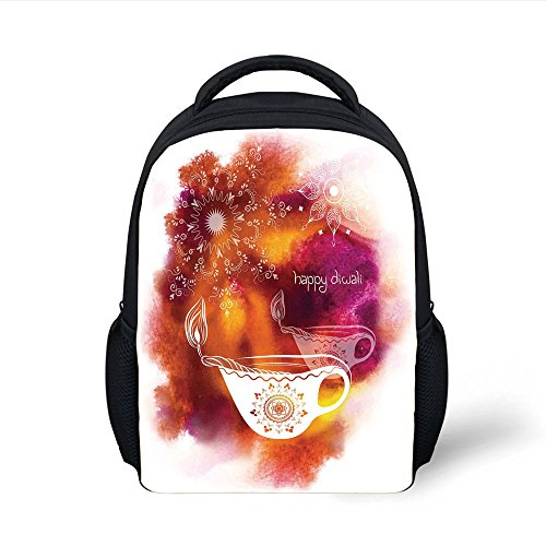 iPrint Kids School Backpack Diwali Decor,Rainbow Colored Like Brush Print with Religious Festive Diwali Art Candles,Multicolor Plain Bookbag Travel Daypack by iPrint