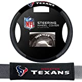 Fremont Die Houston Texans NFL Steering Wheel Cover and Seatbelt Pad Auto Deluxe Kit