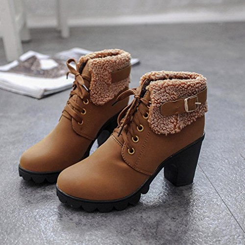 Colorful TM Fashion Women's Winter Warm Boots Plush Lace-up Shoes Martin High Heels Platform Boots Brown A5YohMN