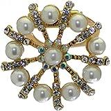 SCABIOUS clip de faux Echarpe Perle Cristal plaqué or / broche