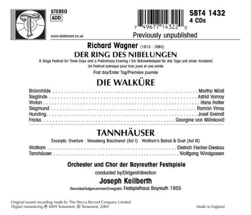 Wagner: Die Walkure / Tannhauser- (2) excerpts (second Ring cycle, 1955)