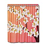 Penneys Curtains YYT Shower Curtains White Orchids On Branch Pink Salmon Gradient Shower Curtain