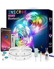20m Bluetooth LED Light Strip,Inscrok LED String Lights, LED Strip Light Controlled by Smart Phone APP,Music Sync LED Lights Strip for Bedroom Decor, Room Decor, Children's Room