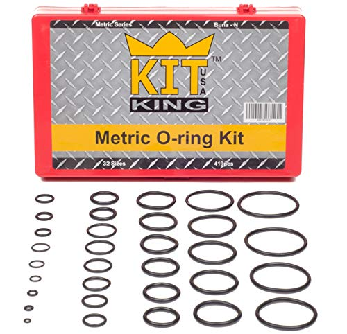Metric O Ring Kit Assortment Set, Assorted Buna-N, 70A Durometer, 419 Pieces, 32 O-Ring Sizes, Orings Pack by Kit King USA