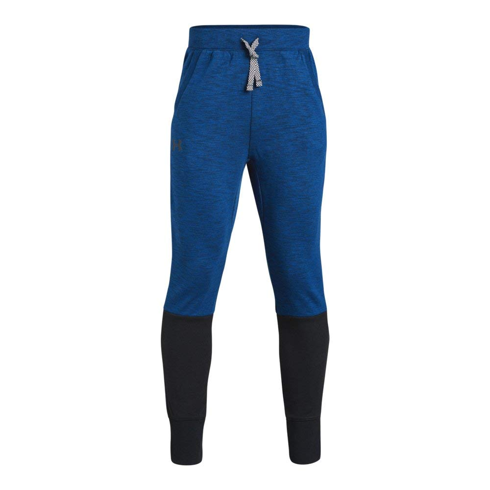 Under Armour Boys Double Knit Tapered Pants, Royal Light Heather (400)/Black, Youth Small