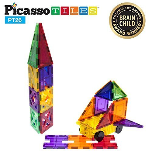 PicassoTiles 26 Piece Building Blocks 26pcs Inspirational Kit 3D Building Construction Toys Clear Magnetic Stacking Set STEM Playboards Magnet Felt Tiles Novelty Games, Creativity Beyond Imagination