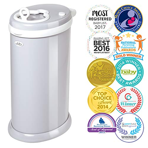 Ubbi Steel Odor Locking, No Special Bag Required Money Saving, Awards-Winning, Modern Design Registry Must-Have Diaper Pail, Gray]()