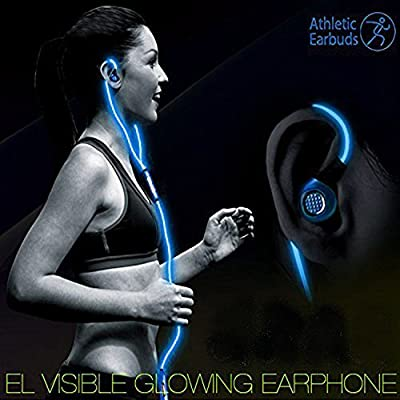 Lightingcool Visible Glowing LED in-Ear Earphone Light Up Stereo sport Headphones with Mic over ear style Lights Flashing to Music Beat Wired Glow-in-the-dark Earphone for all Mobile Phones (Blue)