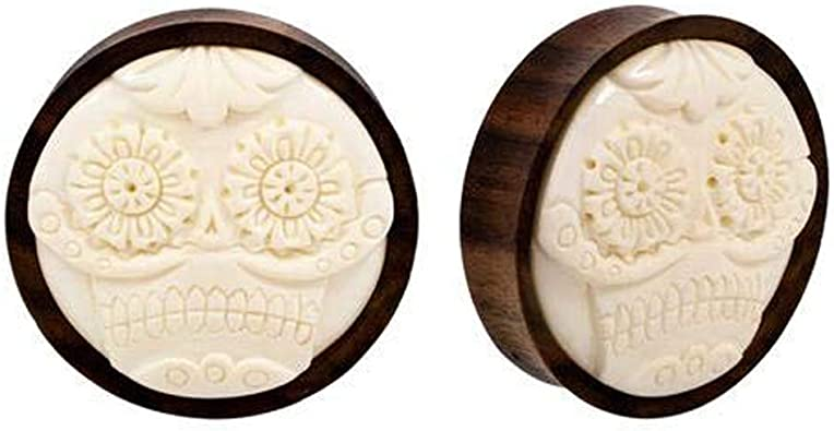 Carved Wood Organic Double Flare Plug
