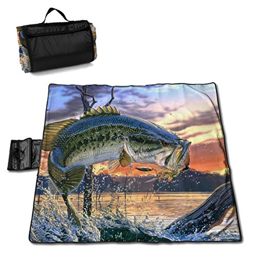 Gulong~a Mouth Bass Jumping Out of The Sea Picnic Blanket Waterproof Extra Large Beach Blanket Sand Proof Oversized Bass Oversize Sleeping Bag