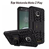 Heartly Motorola Moto Z Play Back Cover Kick Stand Rugged Shockproof Tough Hybrid Armor Dual Layer Bumper Case - Matte Black