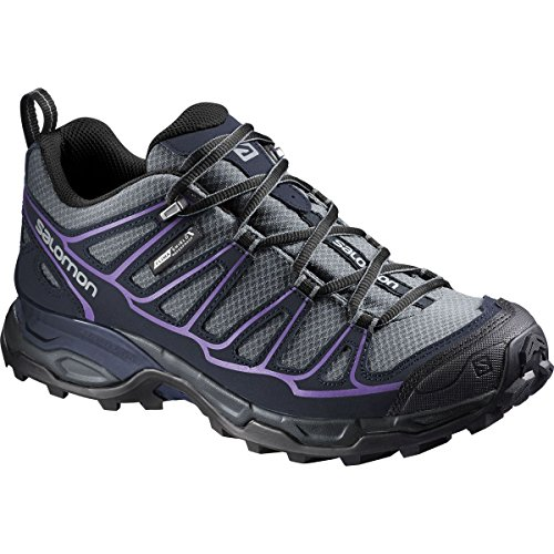 Salomon Women's X Ultra Prime CS Waterproof W Hiking Shoe, Pearl Grey/Deep Blue/Rain Purple, 10 B (Waterproof Pearl)