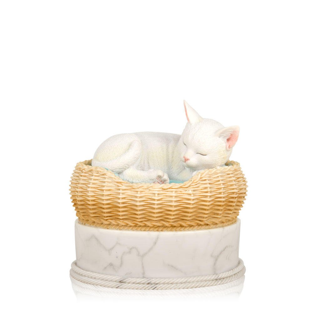 Perfect Memorials Hand Painted White Cat in Basket Cremation Urn by Perfect Memorials