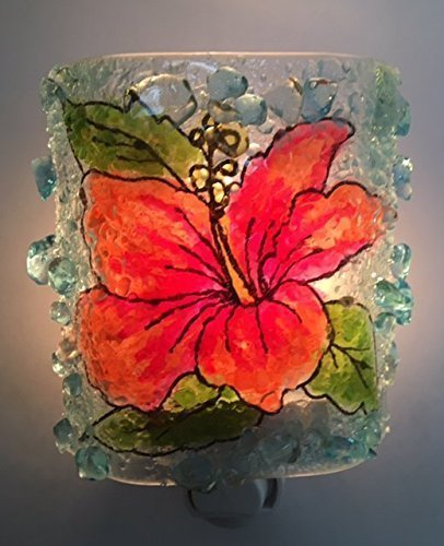 Night Light Recycled Bottle Glass Hibiscus Flower Nightlight by Reborn - Who Glasses Created