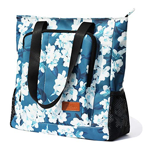 Large Travel Tote Water Resistant Shoulder Bag Lightweight Gym Tote for Men Women Unisex Day Bag (Navy white flower)