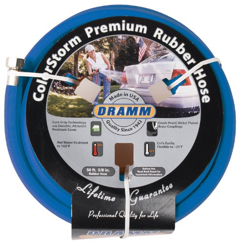 Sprayer Dramm (Dramm 17005 ColorStorm Premium 50-Foot-by-5/8-Inch Rubber Garden Hose, Blue)