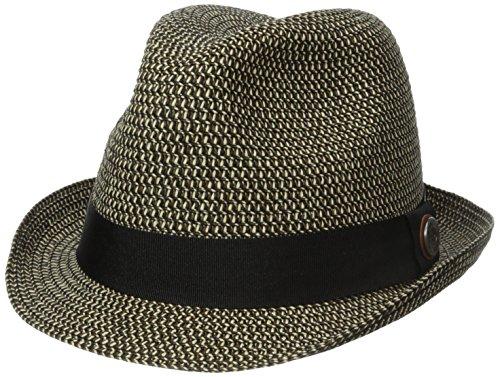 Ben Sherman Men's Sewn Braid Straw Trilby, Black, Small/Medium (Sewn Braid Fedora Hat)