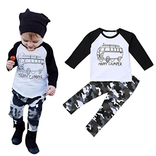 New Arrival,Laimeng 1Set Infant Toddler Baby Boy Long Sleeve Print T-shirt Tops+Pants Outfit Clothes (100, (Slash Outfits)