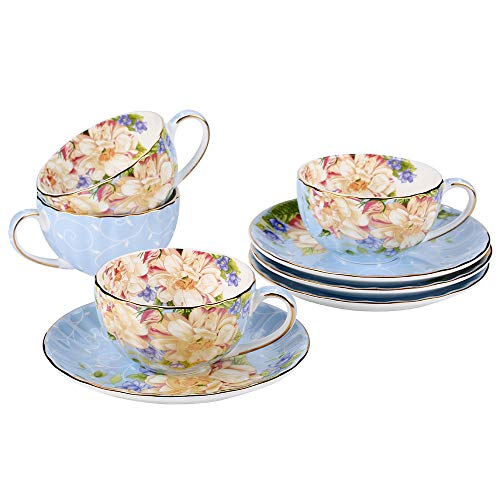 JinGlory Fine Bone China Tea Cup and Saucer Set of 4 Golden Edge Coffee Cup Set for Mocha Latte Cappuccino (Flowers)