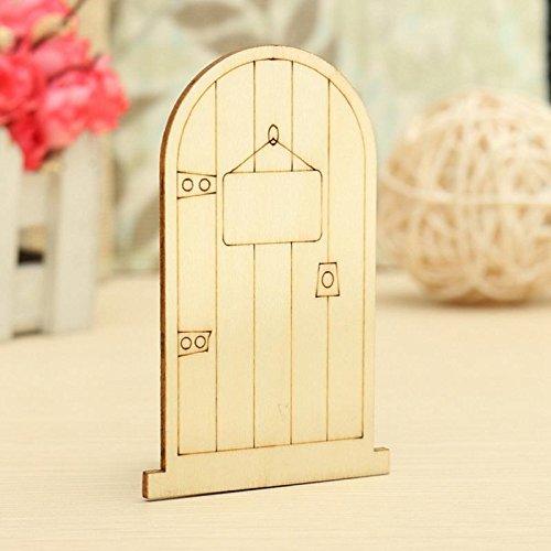 BesTim 10xLaser Cut Wooden Fairy Faerie Elf Doors Unpainted with Plaque Embellishment For Scrapbooking Card Wall Tree Crafts Decor (Faerie Door)