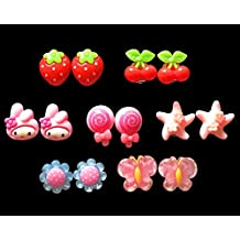 7pc Young Girls Play Earrings, Clip-on Jewelry, Dress-up fun, Pretend Play princess, Little kids accessories, birthday gifts, Party Favor ,value set in Box