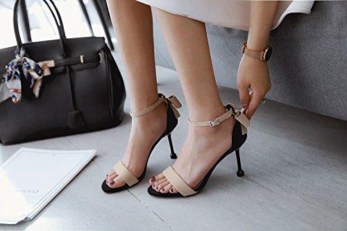 Été Beige Hauts Ouvert Boucle Chaussures à Sandales Talons avec Bout Nouveau à Fine Femme Arc XIAOQI Ronde Sangle rRxwTrBq