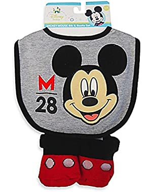 Mickey Mouse Grey Bib and Bootie Set