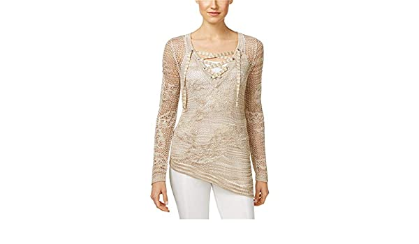 I-N-C Womens Asymmetrical Knit Sweater Off-White XX-Large