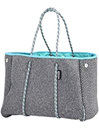 Neoprene Multipurpose Beach Bag Tote with Inner Zipper Pocket and Movable Board (Elegant Grey, X-Large)