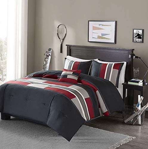 Kaputar Beautiful Modern Cozy Grey Black RED Boys Stripe Block Comforter Set Pillow | Model CMFRTRSTS - 434 | Full