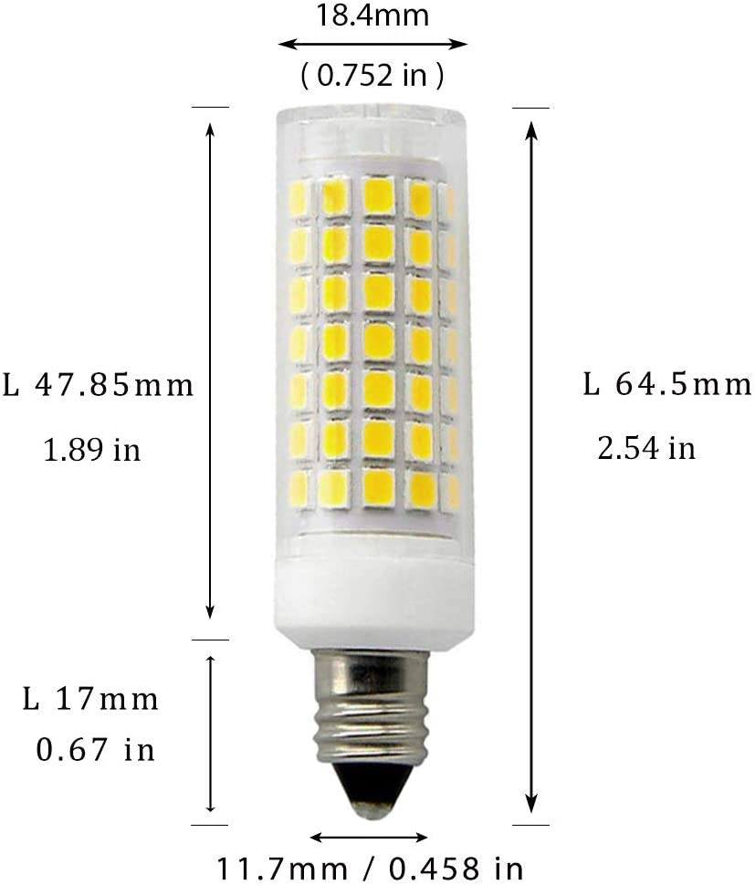JKLED 5-Pack E11 LED Bulb 75W 100W Halogen Bulbs Equivalent JDE11 Mini Candelabra Base AC110 120v 130V Daylight White 6000K T3//T4 Omni-Directional LED Bulb for Chandeliers,Pendants,Table Lamps,Cabinet