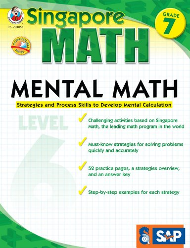 Singapore Math - Mental Math Level 6 Workbook for 7th Grade, Paperback, 64 Pages, Ages 12-13 with Answer Key