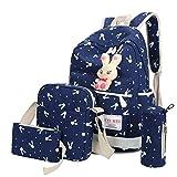 Outsta 4 Sets Women Girl Rabbit Animals Travel Backpack, School Bag Shoulder Bag Handbag Travel Lightweight Classic Basic Water Resistant Backpack Fashion (Blue)