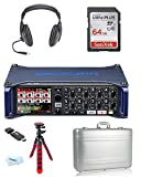 Zoom F8 MultiTrack Field Recorder + Vanguard Foam Padded Aluminum Case + Headphones