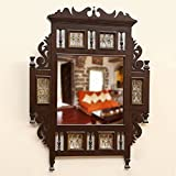 ExclusiveLane Teak Wood ''Maharaja'' Wall Mirror With Dhokra Work In Walnut Brown