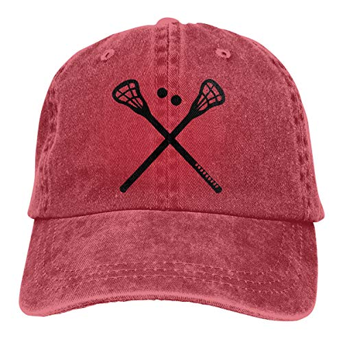 Men's Women's Adjustable Baseball Cap Crossed Lacrosse Sticks Classic Hat Red