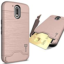 Moto G4 Case, Moto G4 Plus Case, Moto G 4th Gen case, CoverON® [SecureCard Series] Protective Hard Hybrid Cover Credit Card Slot Stand Phone Case for Motorola Moto G4 Plus G4, G, 4th Gen - Rose Gold