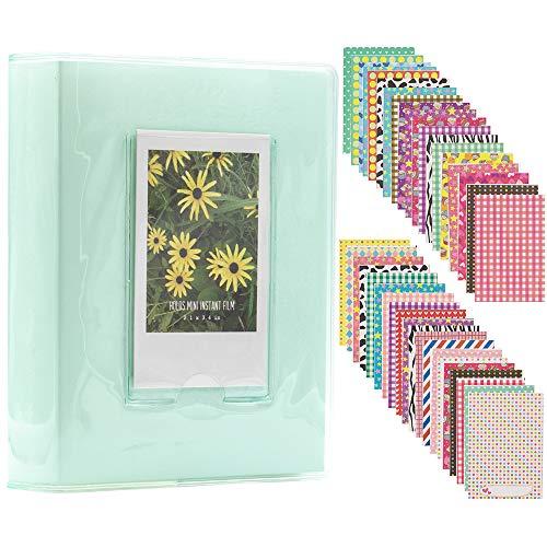 Ablus 64 Pockets Mini Photo Album for Fujifilm Instax Mini 7s 8 8+ 9 25 26 50s 70 90 Instant Camera & Name Card (Jelly Color, Mint)