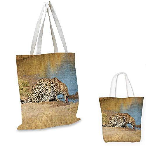 (Safari non woven shopping bag Leopard Panther Drinking at Waterhole Wild South African Animal Documentary Print fruit shopping bag Light Brown. 12