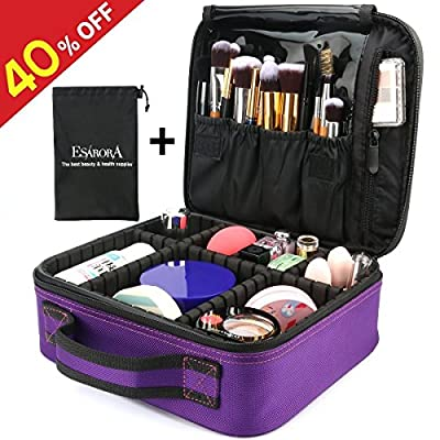 Makeup Bag, ESARORA Portable Travel Makeup Cosmetic Case Organizer Artist Storage Bag with Adjustable Dividers for Cosmetics Makeup Brushes Toiletry Jewelry Digital Accessories