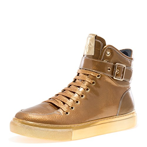 Sullivan Round Toe Hand-Painted Leather Lace-Up Inside Zipper and Strap High-Top Sneaker Gold Patent 10 D US Men ()