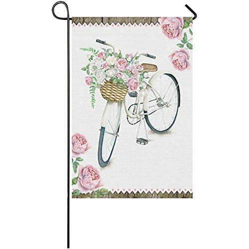 KGEDLA Summer Bike with Rose Long Polyester Garden Flag Banner 28 x 40 inch, Watercolor White Bicycle with Flower Basket Decorative Flag for Wedding Anniversary Home Outdoor Garden Decor