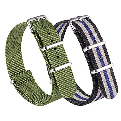 NATO Watch Band Strap Canvas Fabric Nylon Watch Straps with Stainless Steel Buckle,Adebena Ballistic Replacement Watch Bands Width 20mm 22mm (22, Army Green&Black/Grey/Blue)