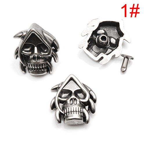 20 Pack Death Skull Rivet Studs Spikes Punk Rock DIY Leather Craft Project for Bracelet Apparel Clothing Shoe Bag Dog Collar Parts Accessories #GZ031-AS