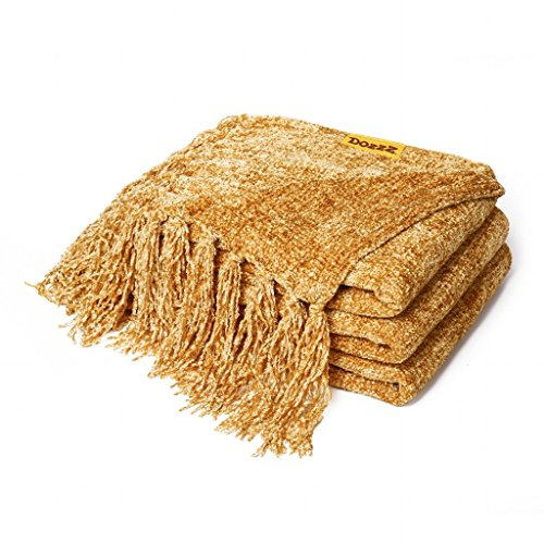 Cheap  Decorative Chenille Thick Couch Throw Blanket with Fringe (GOLD) - Large 60..